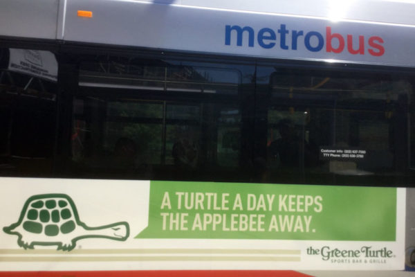 Greene Turtle ad spotted on the side of a bus (photo courtesy Melissa P.)