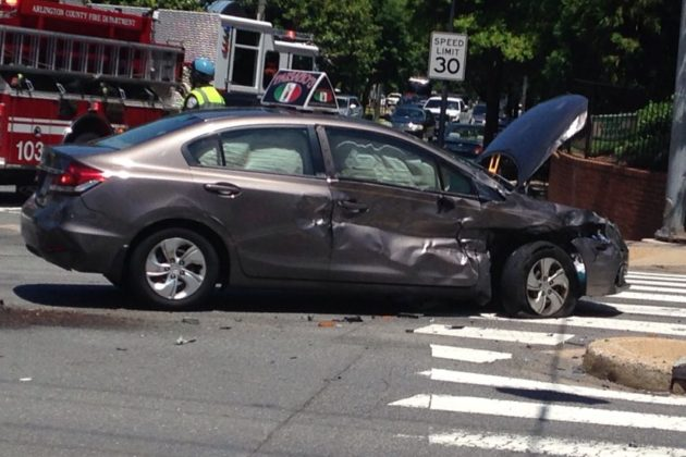 Crash involving Paisano's Pizza delivery driver (photo by Jackie Friedman)