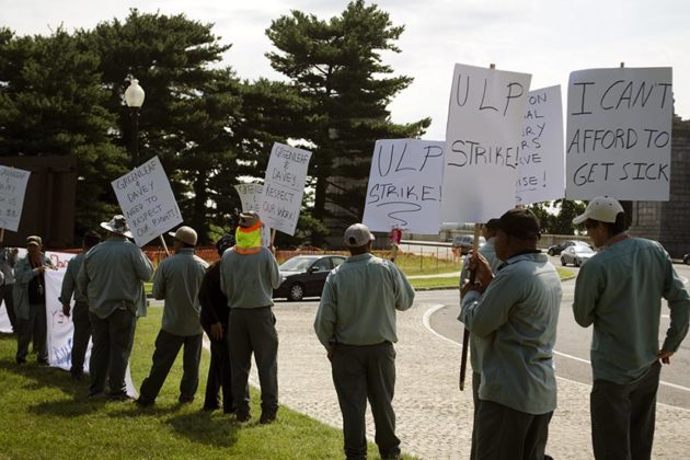 Groundkeepers on strike outside of Arlington National Cemetery