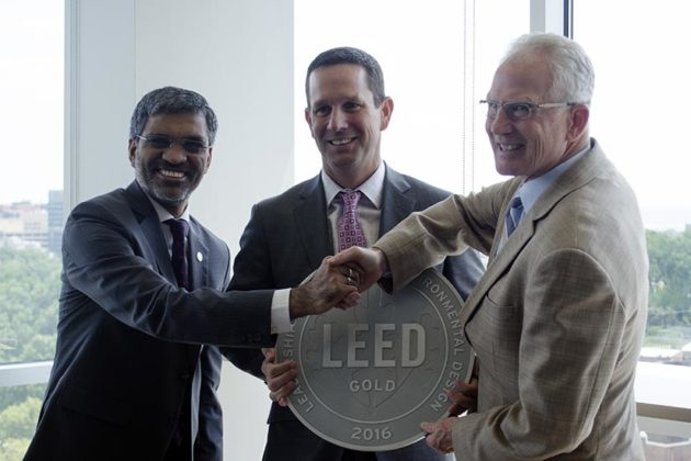 Mahesh Ramanujam, Peter Bergman and John Ziegenhein mark Verde Pointe's LEED Gold certification