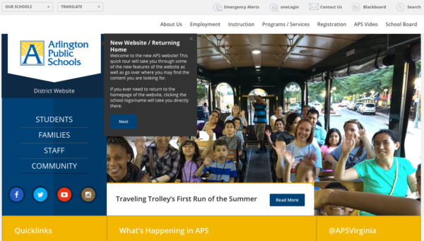 Screenshot of new Arlington Public Schools (APS) website
