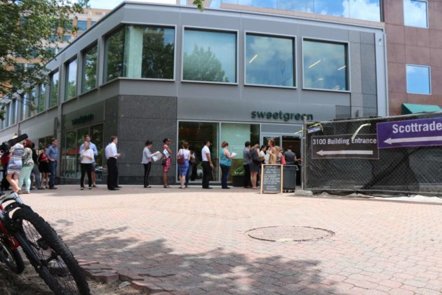 Long lines for free food Thursday before the grand opening