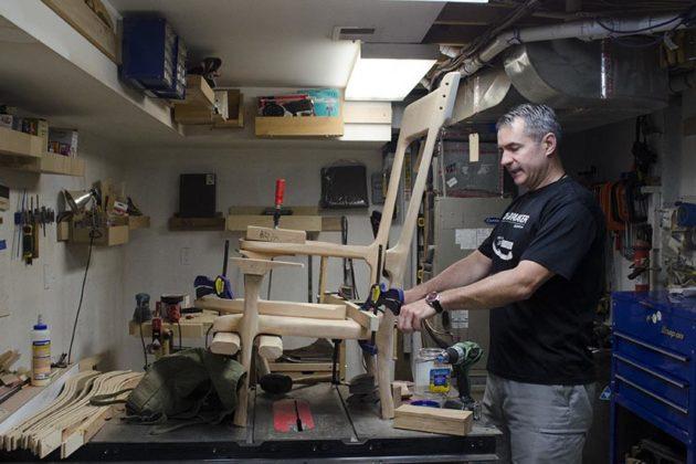 Craftsman Jeff Spugnardi in his home workshop