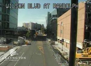 N. Randolph Street is shut down between Glebe and Wilson due to a gas leak