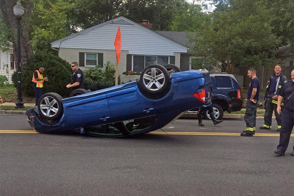 Overturned car on S. Fenwick Street (courtesy photo)