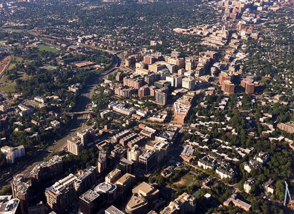 Aerial view of the Rosslyn-Ballston corridor