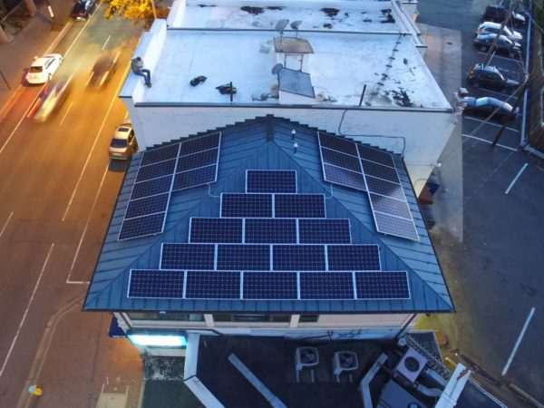 Newly-installed solar panels on the rooftop of Buck & Associates in Courthouse (photo courtesy Billy Buck)