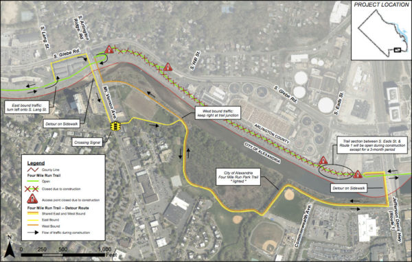 Four Mile Run construction and detour map