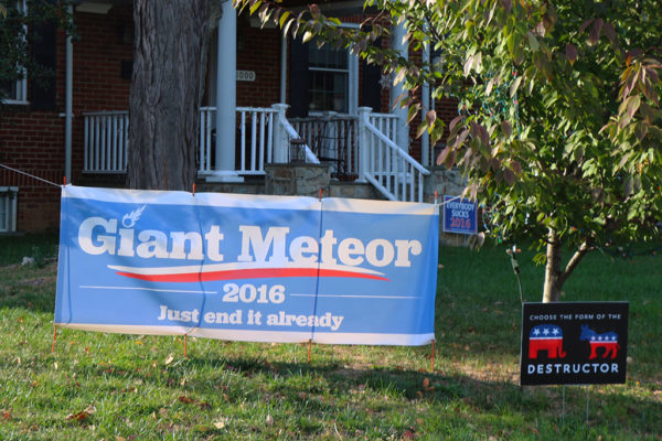 Giant Meteor campaign sign