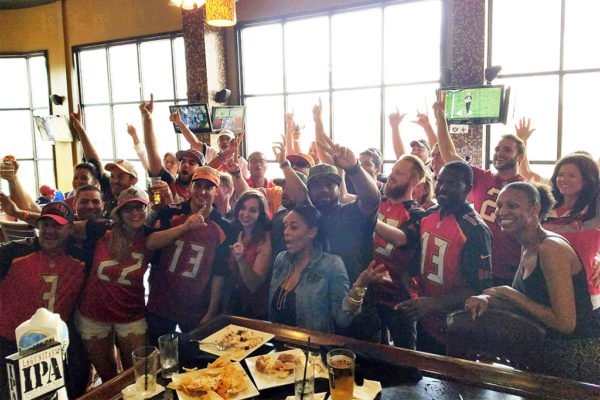 Tampa Bay Buccaneers fans at Arlington Rooftop Grill (photo courtesy Brent Robson)