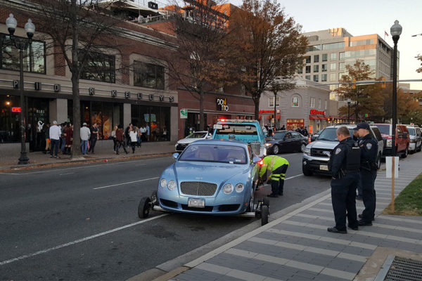 Bentley being towed in Clarendon (Photo courtesy Clarendon Nights)