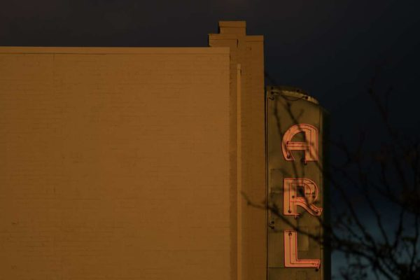 Arlington Cinema Drafthouse sign at night in the fall (Flickr pool photo by Kevin Wolf)