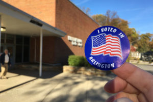 """I Voted in Arlington"" sticker on Election Day 2016 (Flickr pool photo by Kevin Wolf)"