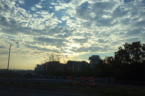 Morning clouds over Pentagon City (photo courtesy Valerie)