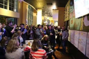 Arlington Democrats monitor the election results at Sehkraft Brewing in Clarendon on Nov. 8, 2016