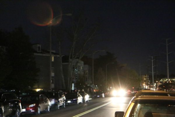 Streetlights out near the West Village of Shirlington condo complex