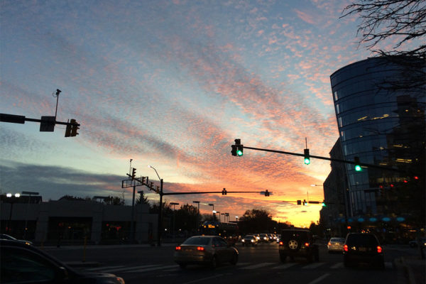 Sunset over Ballston on Friday, Nov. 11
