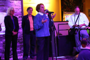 Arlington County Board Chair Libby Garvey gives a speech on election night 2016
