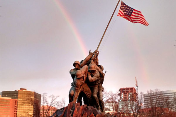 Rainbow behind the Iwo Jima memorial (photo courtesy Mark T.)