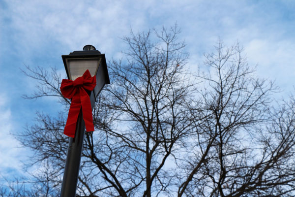 Light post with a ribbon