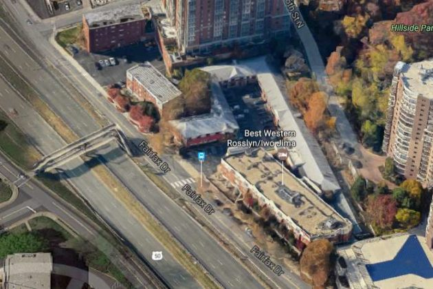 Google Maps view of the Best Western in Rosslyn, which is slated for redevelopment