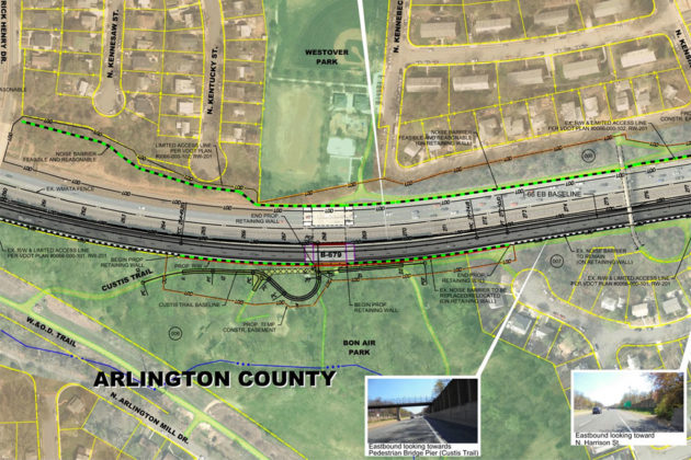 Proposed Custis Park Trail changes at Bon Air Park (rendering via VDOT presentation)