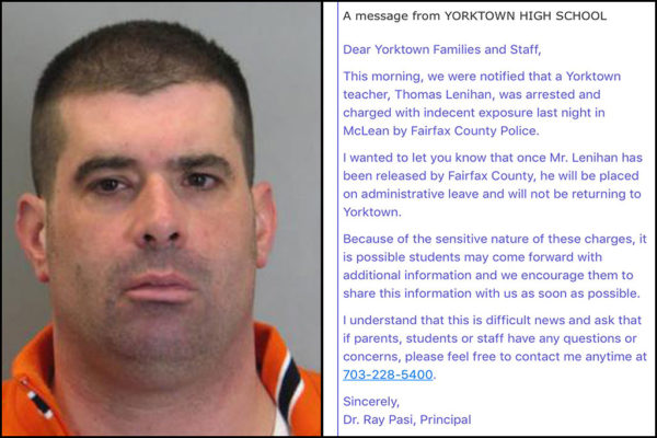 Yorktown teacher Thomas Lenihan and note to Yorktown HS families (photo, left, via FCPD)