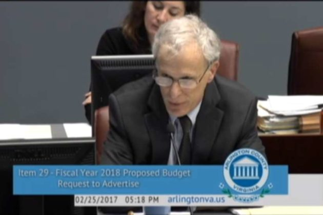 County Manager Mark Schwartz (screenshot via Arlington County Board meeting)