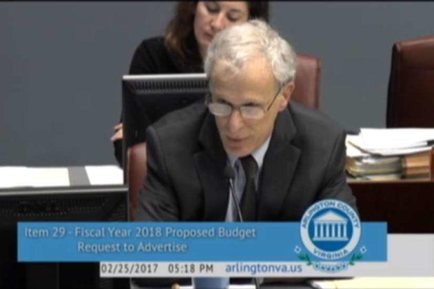 County Manager Mark Schwartz (screenshot via Arlington County Board meeting)