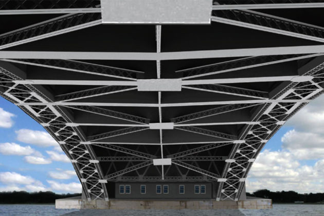 Rendering showing the current layout of the underside of the Memorial Bridge