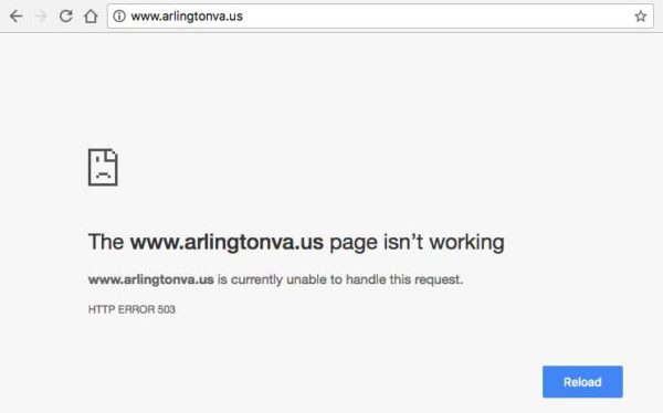 Arlington County website down 2/28/17