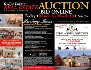 Pershing Manor auction card