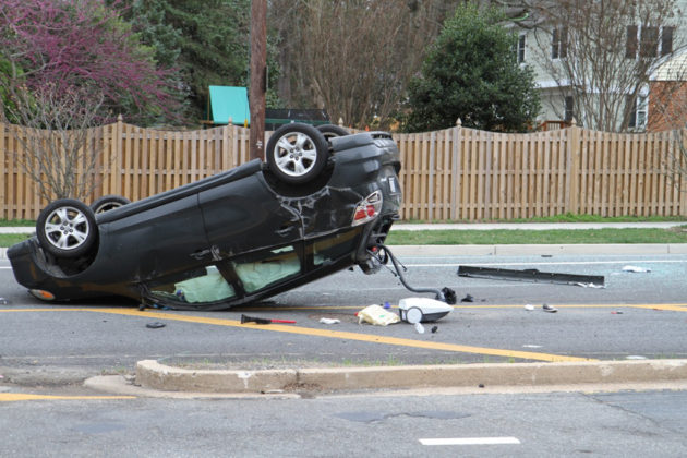 A resident said the car skidded 15-20 yards before flipping