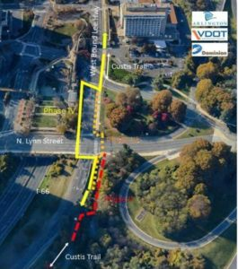 Custis Trail detours through Rosslyn (Courtesy Arlington County)