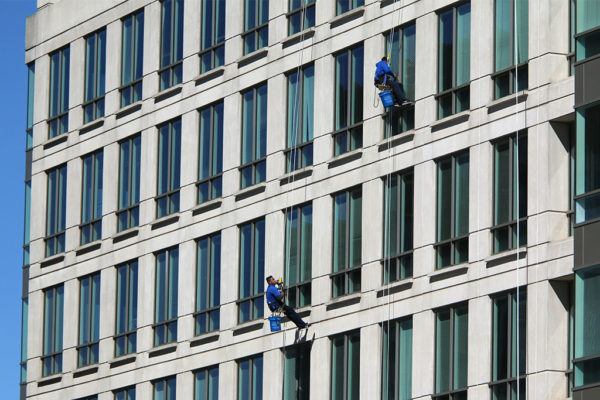 Window washers on an office building in Clarendon