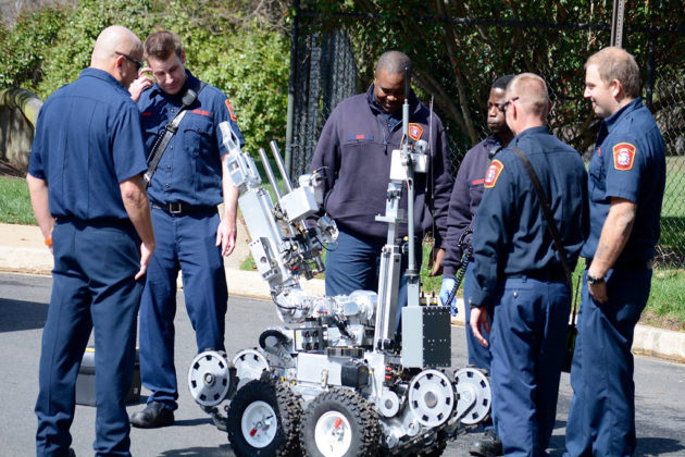 The bomb squad's robot is prepared for use (via DC Metro Fire Photographers)