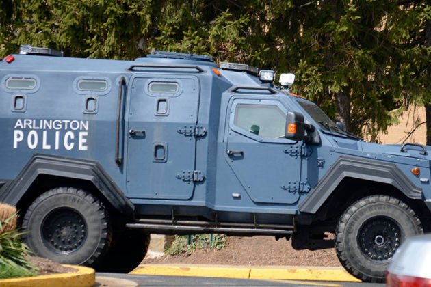 Police brought in an armored vehicle to assist (via DC Metro Fire Photographers)