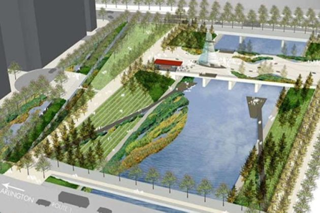 A rendering of the possible future of South Park at Potomac Yard (courtesy Arlington County)