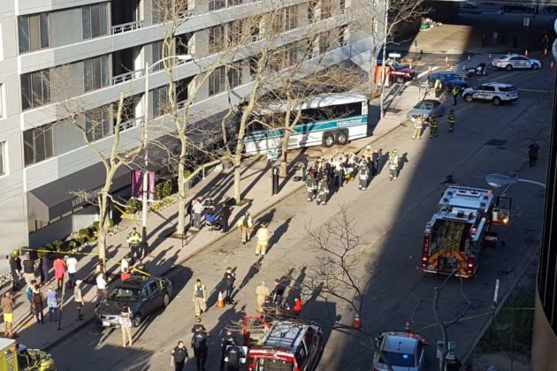 Bus crashes into apartment building in Pentagon City (photo courtesy @josh13x)