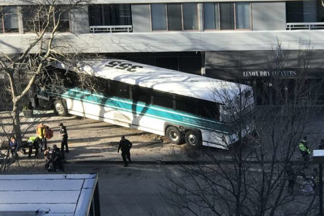 Bus crashes into apartment building in Pentagon City (photo courtesy Sid)