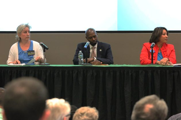 Three candidates for School Board during a forum hosted by ACDC