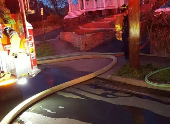 House fire on N. Stuart Street on 4/8/17 (Photo via Arlington County Fire Department)
