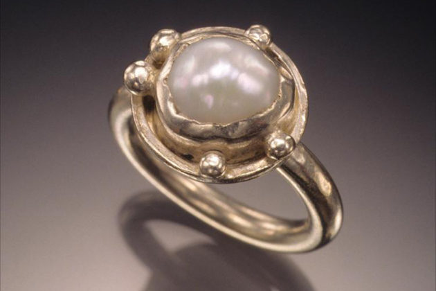 Hand fabricated silver and freshwater pearl ring by Courtney Gillen