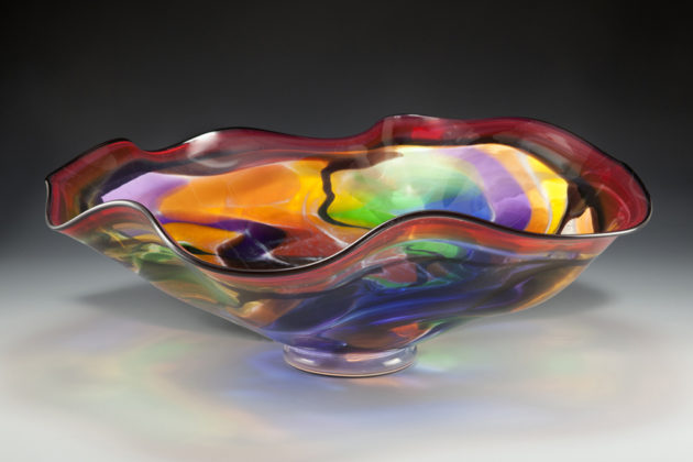 Stained glass ruffle bowl by Lisa Aronzon