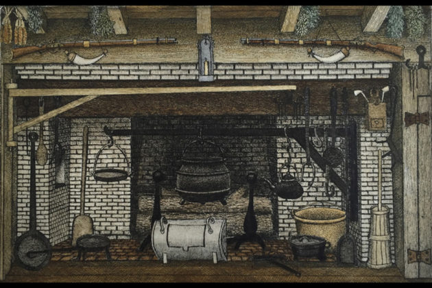 Dry point etching of Colonial fireplace by John Furches