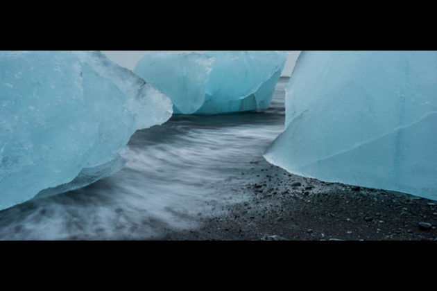 Panorama of glacier pieces along the beach photographer Avner Ofer