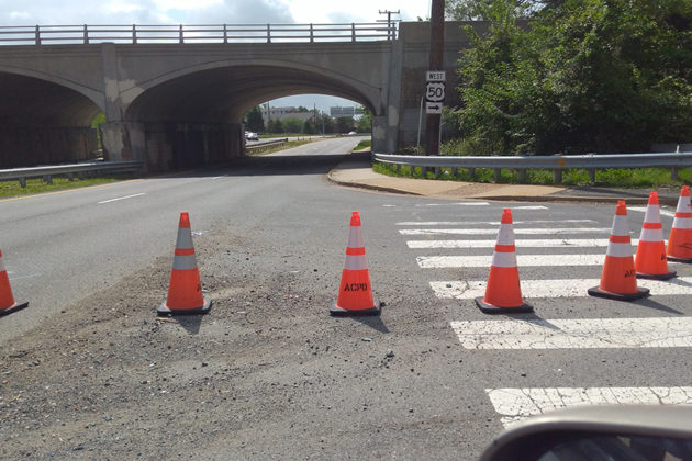 Cones blocked westbound Washington Blvd at Route 50