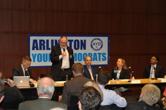 County Board candidate Peter Fallon speaks