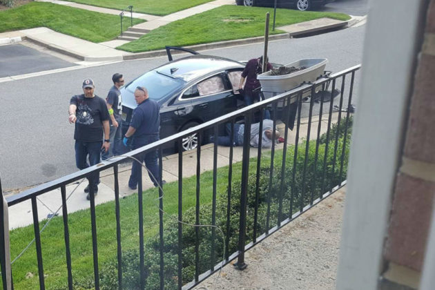 Fairfax police chase ends in East Falls Church (photo courtesy Erin Donahue)