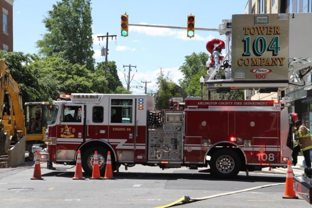 Fire truck at N. Highland Street fire